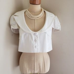 BEBE SO CUTE IVORY BOLERO VEST JACKET